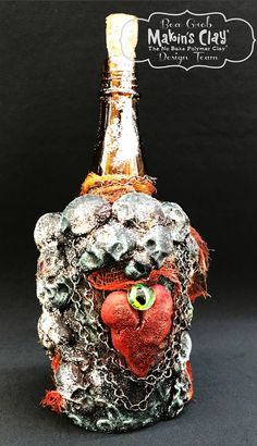 Makin's Clay® Blog: Spooky Skull Bottle by Bea Grob