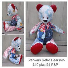 Star Wars Fabric, Vintage Fabrics, Uk Shop, Bespoke, Bears, Dinosaur Stuffed Animal, Facebook, The Originals, Toys