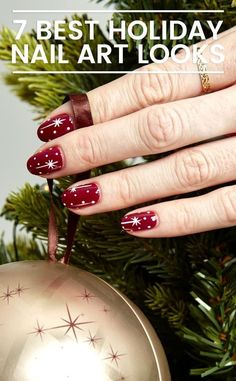 Gift Yourself a Christmas-Inspired Manicure Using These Festive and Bright Nail Art Designs - 45 Festive Christmas Nail Art Ideas – Easy Designs for Holiday Nails Diy Christmas Nail Art, Holiday Nail Art, Christmas Nail Art Designs, Red Christmas, Easy Nail Art, Cool Nail Art, Nail Art Noel, Bright Nail Art, Gel Nagel Design