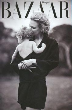 Nicole Kidman with her baby for Harper's Bazaar.