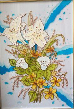 Элементы интерьера ручной работы. Ярмарка Мастеров - ручная работа. Купить Букет цветов. Handmade. Комбинированный, Витражная роспись, лилии