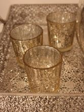 SILVER AND GOLD MERCURY GLASS VOTIVES Candleholder