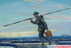 'The visiting Corporal'.    This painting, by Emile Antoine Verpilleux, shows an RFC airman carrying a Marconi pole which was used to support a wireless aerial. The RFC quickly mastered the use of wireless telegraphy and established a system of air-to-ground communication in which the wireless was integral. This Wireless Operator would have assisted the artillery in targeting enemy positions by receiving signals from an Observer in the air and passing them on to the camouflaged gun position,