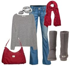 """Grace Adele Style - Comfy and Casual      Cute """"Charms"""" stackable rings, red Grace Adele scarf, and red """"Lily"""" hobo style bag.  http://ForwardFunFashion.GraceAdele.US"""