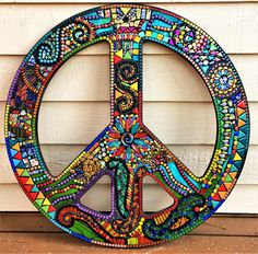 3' tall Custom mosaic peace sign created by Tina @ Wise Crackin' Mosaics