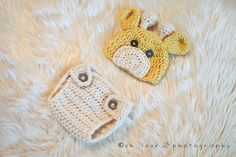 """Crocheted Baby Giraffe Hat/Diaper Cover Photo Prop Size Newborn-12 Months""""FREE SHIPPING"""". $30.00, via Etsy."""