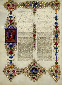 Bible of Borso d'Este ~ The magnificent Bible of Borso d'Este represents the zenith of Ferrarese miniature painting and one of the highpoints of Italian Renaissance manuscript illumination. It was commissioned by Borso d'Este (1413-71), the first duke of Ferrara, who intended it as a demonstration of the splendor of the House of Este, which at the time was competing with Florence and the court of the Medici for international status. The manuscript was completed between 1455 and 1461.