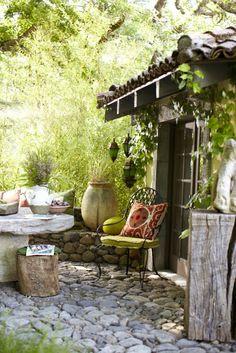 rustic, stone patio