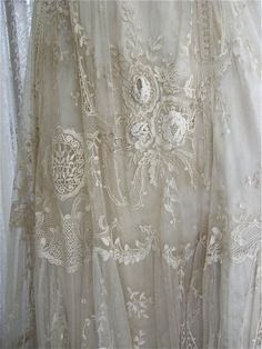 Close up of lace on Turn of the Century gown.
