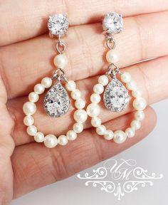 Wedding Jewelry Swarovski Pearl AAA ZIRCONIA Teardrop Studs Earrings Bridal Earrings Bridesmaids Earrings Wedding Earrings - CARI