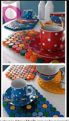 10 Creative Ideas To Reuse Old Plastic Bottles For Your Indoor And Outdoor Look - ArtsyCraftsyDad Plastic Bottle Caps, Bottle Cap Crafts, Crafts To Make, Fun Crafts, Crafts For Kids, Bottle Top Art, Recycled Bottles, Diy Recycle, Upcycled Crafts