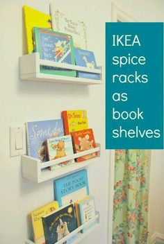 How To Use IKEA Spice Racks For Books (or the easiest DIY wall mounted bookshelf is part of children Playroom Spice Racks - How to use IKEA spice racks for books These are the easiest DIY wall mounted bookshelves perfect for nursery or kids room decor! Nursery Room, Boy Room, Ikea Nursery, Ikea Baby Room, Girl Nursery Decor, Bedroom Decor, Wall Mounted Bookshelves, Wall Bookshelves Kids, Nursery Organization
