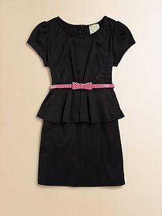 Kiddo Girl's Belted Peplum Dress