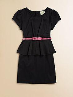 Kiddo Girl's Belted Peplum Dress