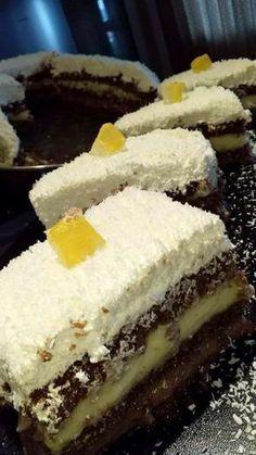 Αφράτη τούρτα καρύδας!! #Γλυκά Greek Sweets, Greek Desserts, Greek Recipes, Sweets Recipes, Cake Recipes, Cooking Recipes, Greek Pastries, Kolaci I Torte, Custard Cake