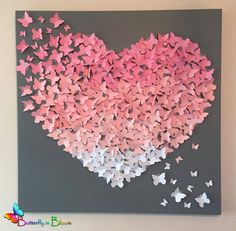 """30"""" x 30"""" Ombre Butterfly Wall Art in Soft Pinks and Soft Gray - Nursery - Newborn - Baby - Baby Shower - Statement Piece"""