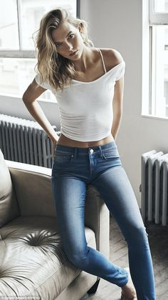 Supermodel: Kloss strikes a pose in a shoot for clothing store EXPRESS