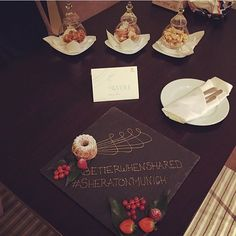Step inside and be welcome. If you're staying with us, let us know and we will surprise you with a special welcome amenity from our Patisserie. ;)  Thanks to @alexios_r for sharing his surprise with us on Instagram.  #SheratonMunich #BetterWhenShared #Surprise