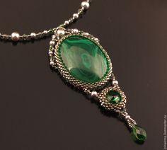 """Купить Кулон """"Эльф"""" - зеленый, кулон, кулон с камнем, малахит, малахит натуральный, украшение"""