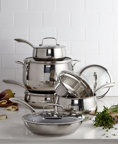 Belgique Stainless Steel Cookware Set with Nonstick Saute Pan & Fry Pan, Created for Macy's Kitchen Shelves, Kitchen Art, Kitchen Utensils, Kitchen Decor, Kitchen Appliances, Kitchen Tools, Home Decor Accessories, Kitchen Accessories, Best Pans