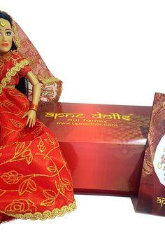 Indian Dolls, Unique Toys, Long Black Hair, Punjabi Wedding, Red Gold, Wedding Bride, Fashion Dolls, Indian Fashion, Peplum Dress