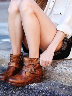 Free People moto ankle boots womens shoes tan