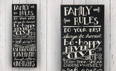 Family Rules Sign, Inspirtaional Signs, Large Wall Decor