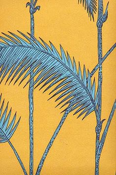 Palm Leaves Wallpaper Turquoise palms on mustard background
