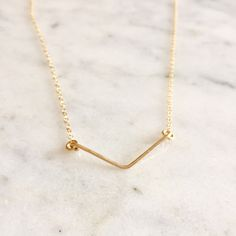 V Necklace - Chevron Necklace - Bar Necklace - 14k Gold Filled V Bar Necklace - Birthday Gift - Bridesmaid Gift - Layering Necklace - Dainty by LovelyCraftedShop on Etsy