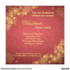Sold. #Christmas #xmas #Dinner #red #gold #Invitation Available in different products. Check more at www.zazzle.com/graphicdesign