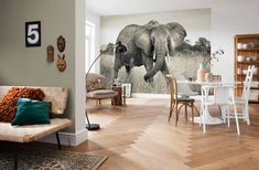 Mural Brewster Home Fashions Elephant Wall Paper Decor, Wall Decor, Living Room Designs, Living Room Decor, Poster Xxl, Elephant Wallpaper, Home Wallpaper, Interiores Design, Terra