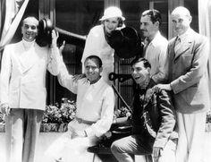 Combining their talents in a new venture - Al Jolson, Douglas Fairbanks, Mary Pickford, Eddie Cantor, Ronald Colman and producer Samuel Goldwyn 1931