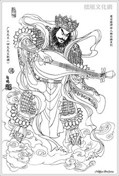 Chinese religion and mythology  四大天王之广目天王 - Guang Mu, the four guardians or warrior attendants of Buddha