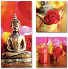 Tableaux design Trio Bouddha bronze 2