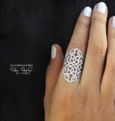 Duchess Lace Diamond Ring. 14K Gold 1.35ct Diamodns by SillyShiny, $2,840.00