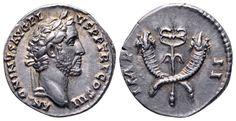 AR Denarius. Roman Imperial, Antoninus Pius, Rome. 143-144 AD. 16mm, 3,35g, 12h. RIC 107b. Near EF. Price realized (2.7.2016): 238 EUR.