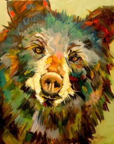ARTOUTWEST DIANE WHITEHEAD ANOTHER BEAR WILDLIFE ART OIL PAINTING, painting by artist Diane Whitehead