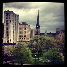 Storm clouds roll in over Grand Circus Park in Detroit