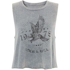 Grey Acid Wash Eagle Cropped Tank Top (209.305 IDR) ❤ liked on Polyvore