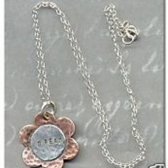 A copper flower has been hammered and accented with a sterling silver DREAM disk and is suspended from a delicate sterling silver cable chain. Flower Necklace, Gold Necklace, Metal Stamping, Jewelry Ideas, Copper, Delicate, Chain, Sterling Silver, Gold Pendant Necklace