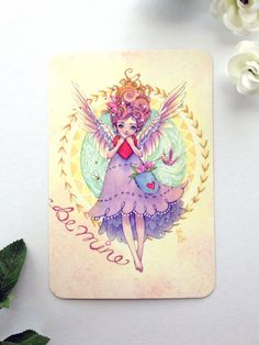 This listing is for one postcard featuring the painting Be My Valentine, based off my original watercolor of a tiny angel holding a heart. I design,