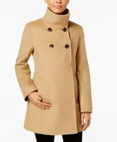 Larry Levine Double-Breasted Babydoll Swing Coat