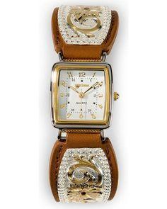 Montana Silversmiths Women's Flower Overlay Leather Watch Brown One Size | eBay