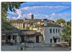 Dilοfo panorama from central square, Zagorochoria, Epirus, Greece - photo by Dimitris Tilis Central Square, Greece, Beautiful Places, Landscapes, Dreams, Spaces, Traditional, Mansions, Country