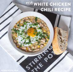 Easy white chicken & bean chili recipe and dutch oven crusty bread - so good!