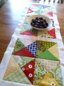 Chopped Up Charms Table Runner  MAKE more squares and create a quilt.  EASY