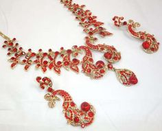 DESIGNER RED & GOLD NECKLACE SET WITH MATCHING EARRINGS