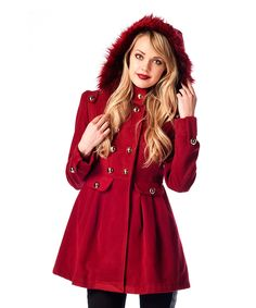 Love this Bordeaux Faux Fur Hooded Cachet Coat by Ironi Collection on #zulily! #zulilyfinds