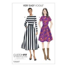 Shop our range of Vogue Sewing Patterns. Get inspried to create with Misses' Jewel-Neck, Gathered-Skirt Dresses Vogue Patterns, Dress Patterns, Corsage, Miss Dress, Sewing Clothes, Dress Sewing, Diy Clothing, Gathered Skirt, Body Con