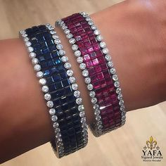 Sarturday Stack ain't too shabby! Blue sapphire and ruby invisible setting #VCA bracelets ... Wear alone or stack em up!  Yafa Signed Jewels has been buying and selling authentic signed jewelry since 1985.  All pieces are guaranteed authentic.  For price and purchase inquiries only, please contact us at info@yafajewelry.com or 212-719-9828……. www.yafasignedjewels.com.  #yafasignedjewels #signedjewelry #vintagejewelry #vintage #forsale #newyork #investment #finejewelry #jewelry…